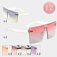 12PCS - Oversized Oceanic Color Lens Frameless Sunglasses