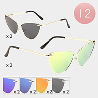 12PCS -  Cat Eye Metal Frame Sunglasses