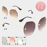 12PCS - Gradient Lens Frameless Sunglasses