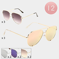 12PCS - Metal Frame Aviator Sunglasses