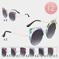 12PCS - Floral Pattern Cat Eye Frame Sunglasses