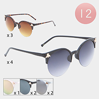 12PCS - Metal Honey Bee Cat Eye Frame Sunglasses