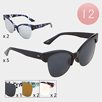 12PCS - Textured Cat Eye Frame Sunglasses