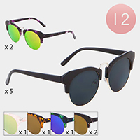 12PCS - Browline Frame Sunglasses
