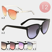 12PCS - Basic Oceanic Color Lens Sunglasses