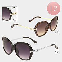 12PCS - Crystal Embellished Square Frame Sunglasses