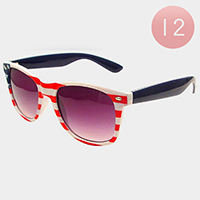 12PCS - American Flag Frame Gradient Lens Sunglasses