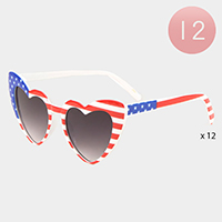 12PCS - American Flag Frame Heart Lens Sunglasses