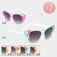 12PCS - Floral Transparent Frame Kids Sunglasses