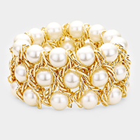 Metal Chain Pearl Stretch Bracelet