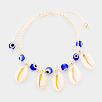 Puka Shell Evil Eye Cord Braid Adjustable Bracelet
