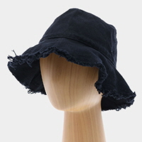 Frayed Trim Cotton Bucket Hat