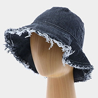 Frayed Trim Denim Bucket Hat
