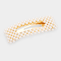 Pearl Embellished Rectangle Snap Clip