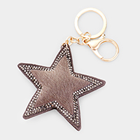 Stone Embellished Fur Star Key Chain