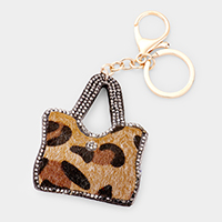 Stone Embellished Faux Leopard Bag Key Chain