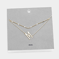 'M' Monogram Brass Metal Necklace
