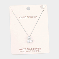 White Gold Dipped Cubic Zirconia Cherry Pendant Necklace