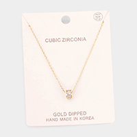 Gold Dipped Cubic Zirconia Ring Pendant Necklace