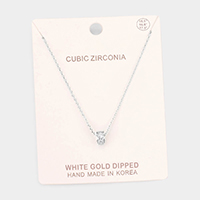 White Gold Dipped Cubic Zirconia Ring Pendant Necklace