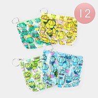 12PCS - Cactus Print Coin Purse Key Chains