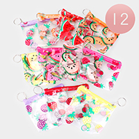 12PCS - Fruit Print Coin Purse Key Chains