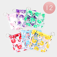 12PCS - Flamingo Print Coin Purse Key Chains