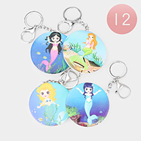12PCS - Mermaid Cartoon Print Compact Mirror Key Chains