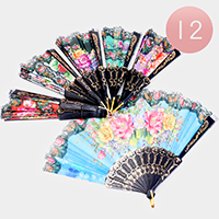 12PCS - Butterfly floral Pattern Folding Fans