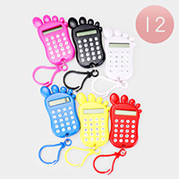 12PCS - Foot Shape Mini Calculators