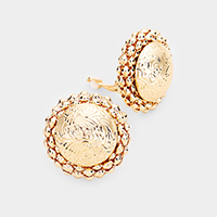 Embossed Round Metal Clip On Earrings