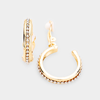 Metal Open Hoop Clip On Earrings