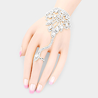 Crystal Marquise Rhinestone Pave Hand Chain Evening Bracelet