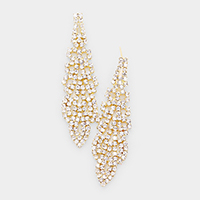 Crystal Rhinestone Pave Drop Evening Earrings