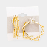 14K Gold Filled Layered Open Square Metal Earrings