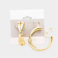 14K Gold Filled Metal Crisscross Hoop Clip On Earrings