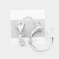 14K White Gold Filled Metal Crisscross Hoop Clip On Earrings