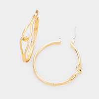 Metal Knot Hoop Pin Catch Earrings
