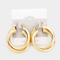 14K Gold Filled Metal Double Hoop Pin Catch Earrings