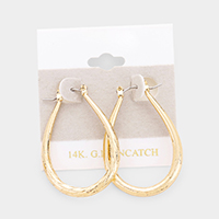 14K Gold Filled Metal Teardrop Pin Catch Earrings