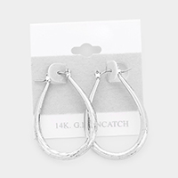 14K White Gold Filled Metal Teardrop Pin Catch Earrings