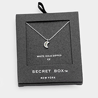 Secret Box _ White Gold Dipped CZ Moon Pendant Necklace