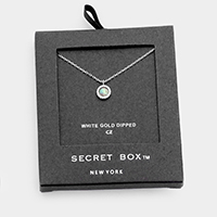Secret Box _ White Gold Dipped CZ Round Pendant Necklace
