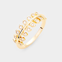 Gold Plated CZ Leaf Branch Ring