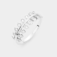 Rhodium Plated CZ Leaf Branch Ring