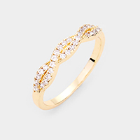 Gold Plated CZ Braid Branch Ring