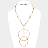 Irregular Double Round Metal Pendant Necklace