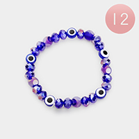 12PCS - Evil Eye Beaded Stretch Bracelets