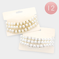 12 Set of 3 - Crystal Pave Pearl Stretchable Bracelets