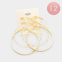 12 Set of 3 - Crystal Embellished Metal Hoop Earrings